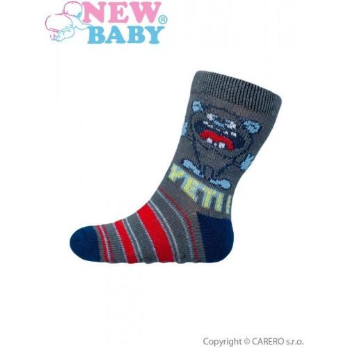 Kojenecké ponožky New Baby s ABS šedé yeti Šedá 62 (3-6m)
