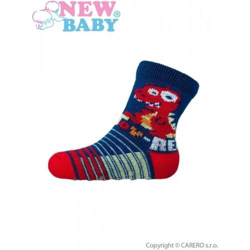 Kojenecké ponožky New Baby s ABS tmavě modré toy rex Modrá 62 (3-6m)