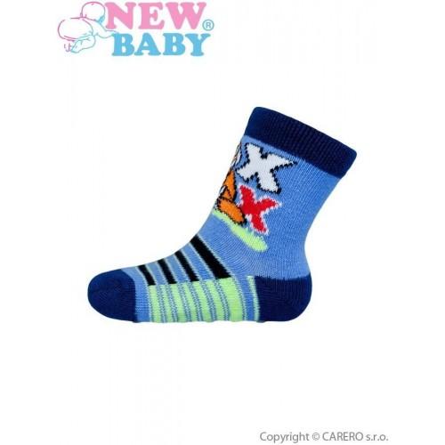 Kojenecké ponožky New Baby s ABS modré s liškou Modrá 62 (3-6m)