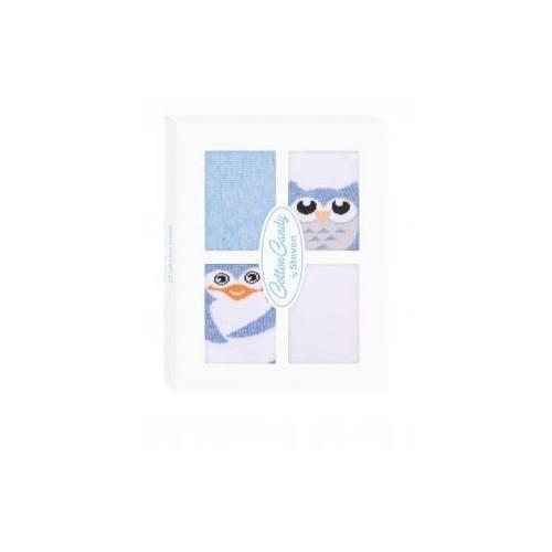 Kojenecké ponožtičky CANDY BOX - Sovička a tučňáček - modré, 17-19 vel. ponožek