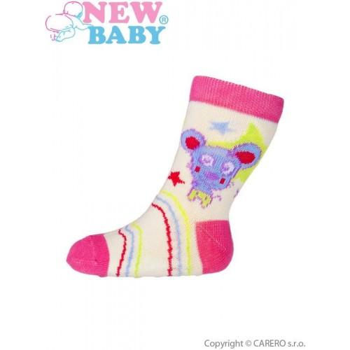 Kojenecké ponožky New Baby s ABS žluté s medvídkem Žlutá 62 (3-6m)