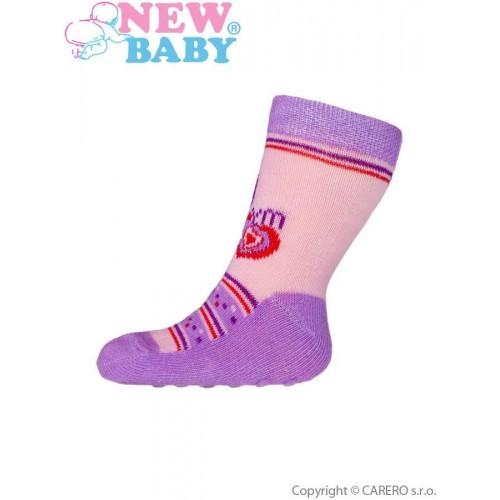 Kojenecké ponožky New Baby s ABS růžovo-fialové my heart Růžová 62 (3-6m)
