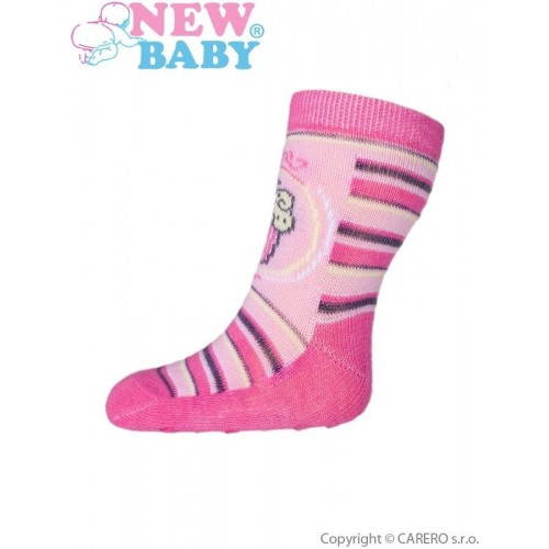 Kojenecké ponožky New Baby s ABS růžové s proužky a dortem Růžová 62 (3-6m)