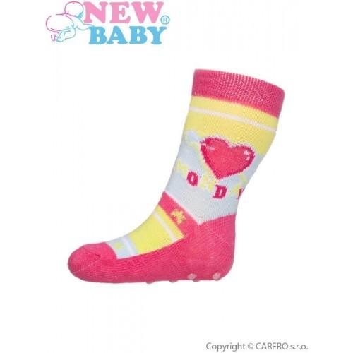 Kojenecké ponožky New Baby s ABS růžové se srdíčkem monday Růžová 62 (3-6m)