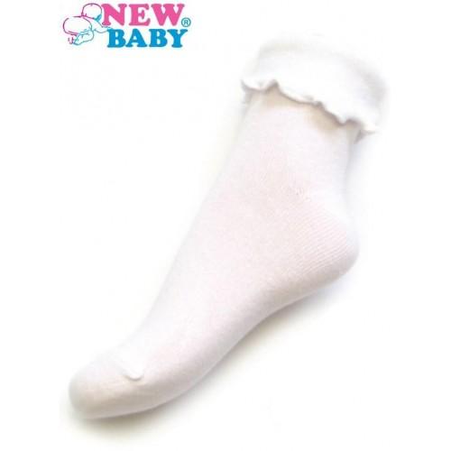 Kojenecké bavlněné ponožky s volánkem New Baby bílé Bílá 62 (3-6m)