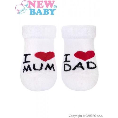 Kojenecké froté ponožky New Baby bílé I Love Mum and Dad Bílá 56 (0-3m)