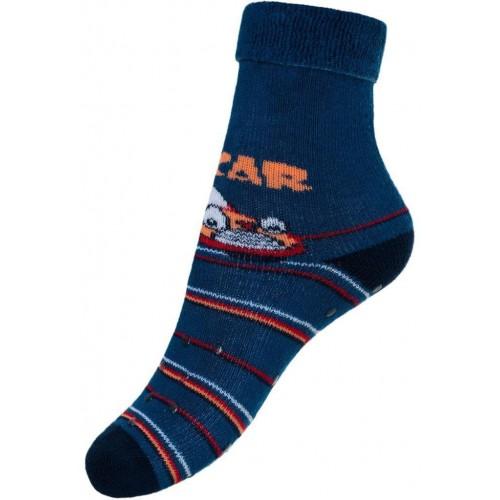 Dětské froté ponožky New Baby s ABS tmavě modré car Modrá 86 (12-18m)
