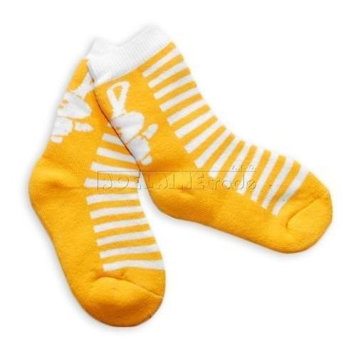 Bavlněné  froté ponožky 12m+ - žluté pruhy