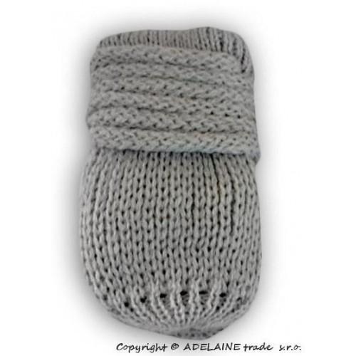 Zimní pletené  kojenecké rukavičky - sv. šedé, 0-1rok