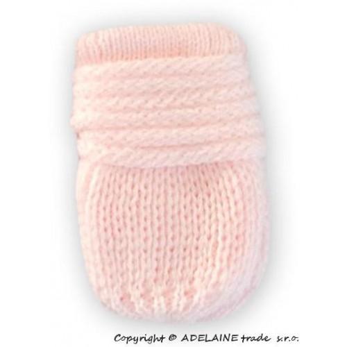 Zimní pletené  kojenecké rukavičky - sv. růžové, 0-1rok