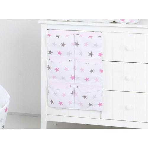 Kapsář 40 x 65 cm - Hvězdičky růžové a šedé
