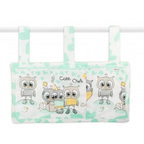 Kapsář na postýlku 3 kapsy - Cute Owls - zelený