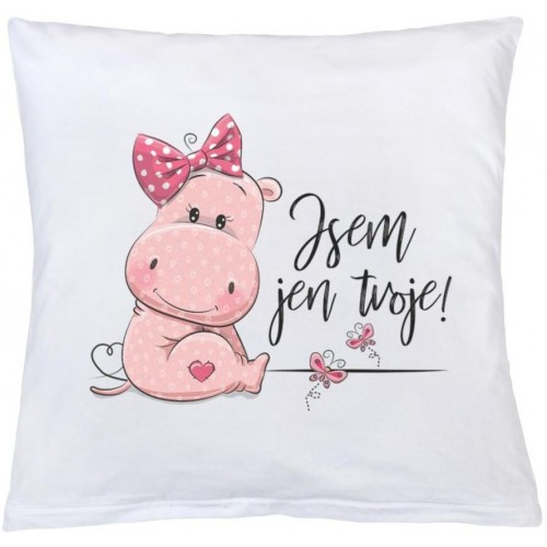 Polštář New Baby s potiskem Jsem jen tvoje! 40x40 cm růžový