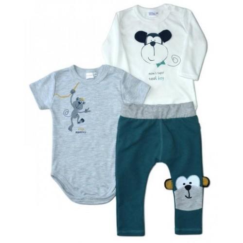 K-Baby Sada 1 x body dl. rukáv, 1 x body kr. rukáv + 1 x tepláčky - Cool Boy, 62 (2-3m)