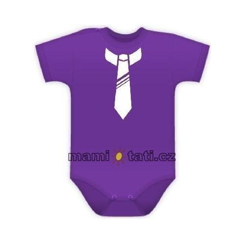 Baby Dejna Body kr. rukávek s potiskem kravaty - fialové, 74 (6-9m)