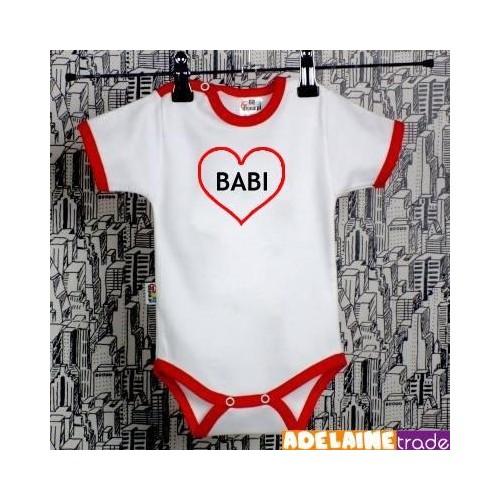 Baby Dejna Body kr. rukáv  SRDÍČKO BABI - bílé/červený lem, 74 (6-9m)
