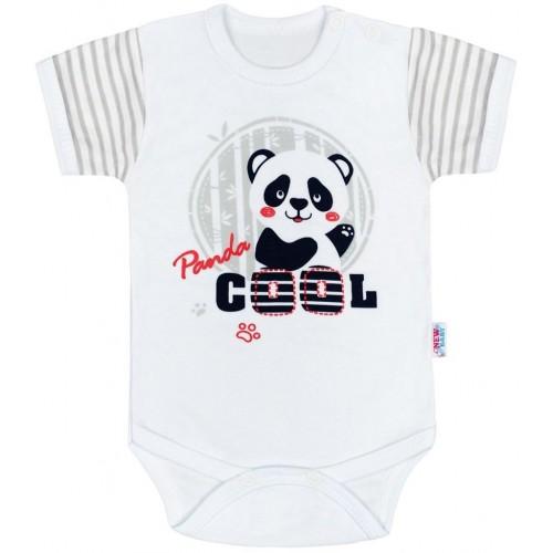 Kojenecké body s krátkým rukávem New Baby Panda Šedá 62 (3-6m)