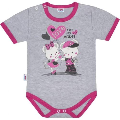 Dětské body s krátkým rukávem New Baby Love Mouse Růžová 74 (6-9m)