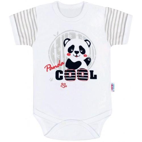 Kojenecké body s krátkým rukávem New Baby Panda Šedá 74 (6-9m)