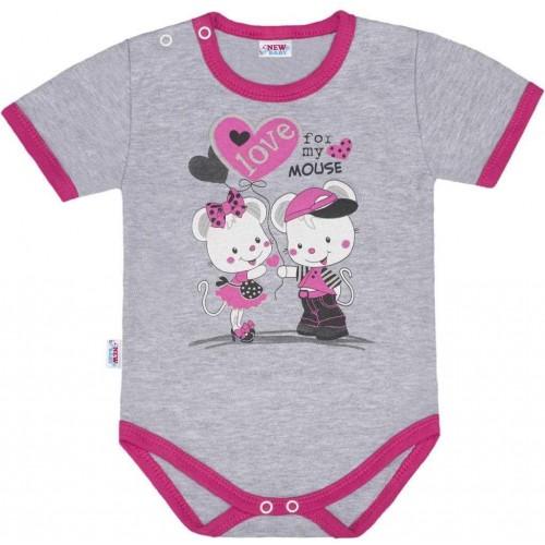 Dětské body s krátkým rukávem New Baby Love Mouse Růžová 80 (9-12m)