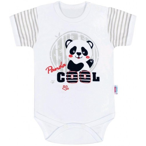 Kojenecké body s krátkým rukávem New Baby Panda Šedá 86 (12-18m)