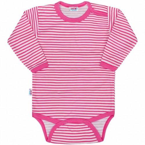 Kojenecké body New Baby Classic II s růžovými pruhy Růžová 80 (9-12m)