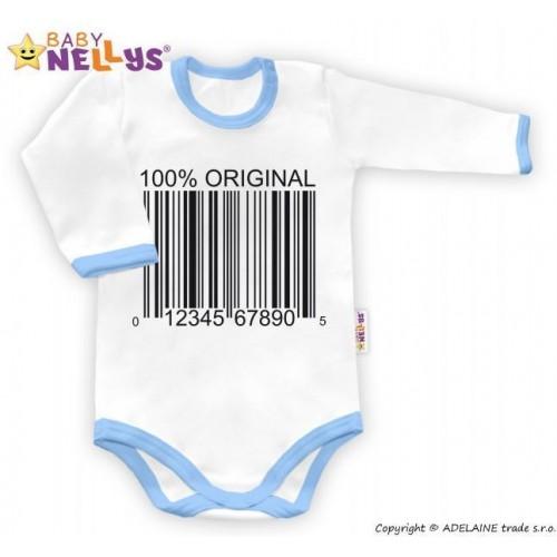 Baby Nellys Body dlouhý rukáv 100% ORIGINÁL - bílé/modrý lem, 86 (12-18m)
