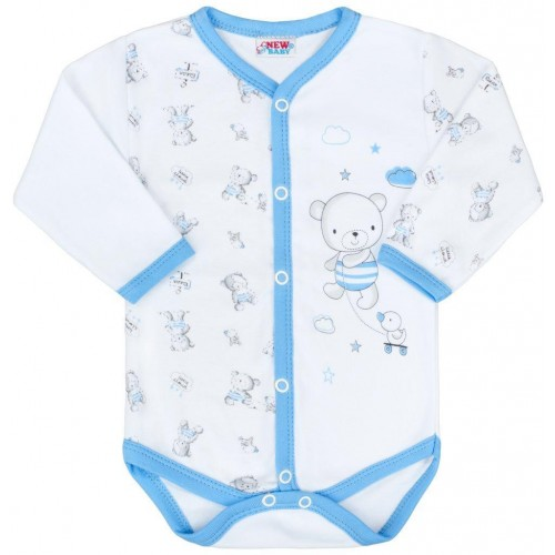 Kojenecké celorozepínací body New Baby Bears modré Modrá 50