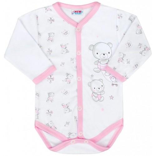 Kojenecké celorozepínací body New Baby Bears růžové Růžová 62 (3-6m)