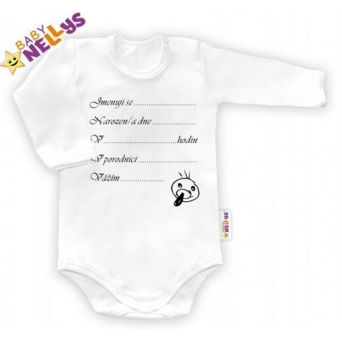 Body dl. rukáv vel. 80, Baby Nellys ® - bílé - Narodil jsem se..., 80 (9-12m)