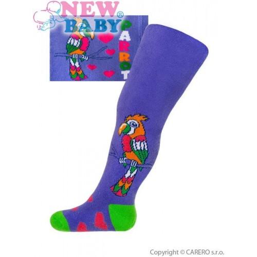 Froté punčocháčky New Baby fialové s papouškem Fialová 56 (0-3m)