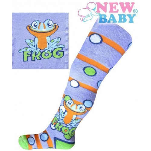 Froté punčocháčky New Baby fialové s žabkou Fialová 68 (4-6m)