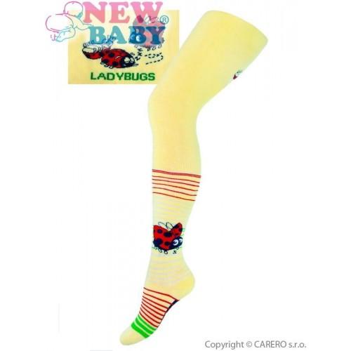 Froté punčocháčky New Baby žluté s beruškou Žlutá 104 (3-4r)