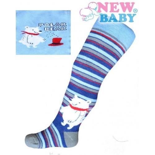 Froté punčocháčky New Baby modré s medvědem Modrá 80 (9-12m)