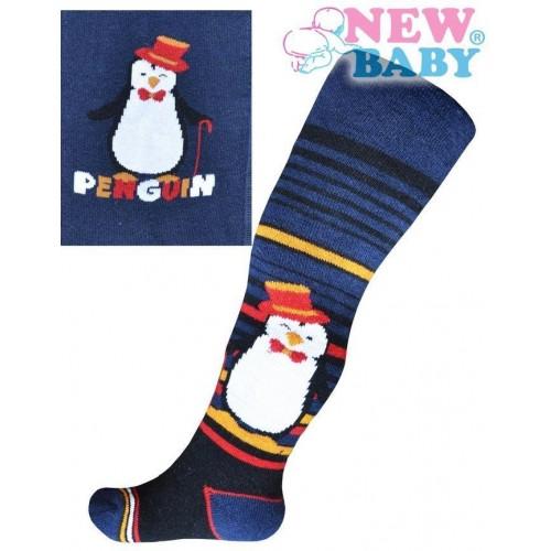 Froté punčocháčky New Baby tmavě modré s tučňákem a nápisem Modrá 104 (3-4r)