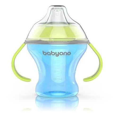 Nekapající hrneček s měkkým pítkem Baby Ono - modro/zelený