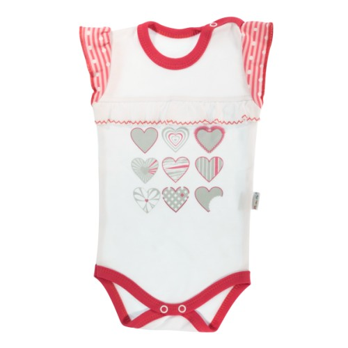 Dětské body na ramínka Mamatti Love Girl -  bílá/červená, vel. 98, 98 (24-36m)