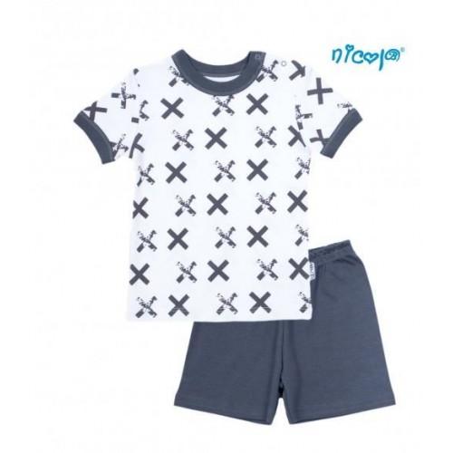 Dětské pyžamo krátké Nicol, Rhino - bílé/grafit, vel.98, 98 (24-36m)