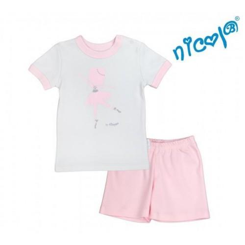 Dětské pyžamo krátké Nicol, Baletka - šedo/růžové, vel. 128, 128