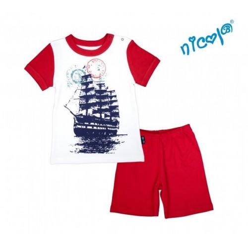 Kojenecké pyžamo krátké Nicol, Sailor - bílé/červené, 86 (12-18m)