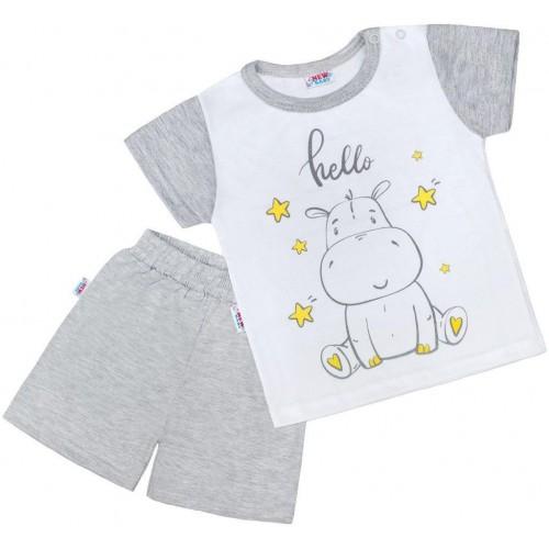Dětské letní pyžamko New Baby Hello s hrošíkem bílo-šedé Šedá 74 (6-9m)