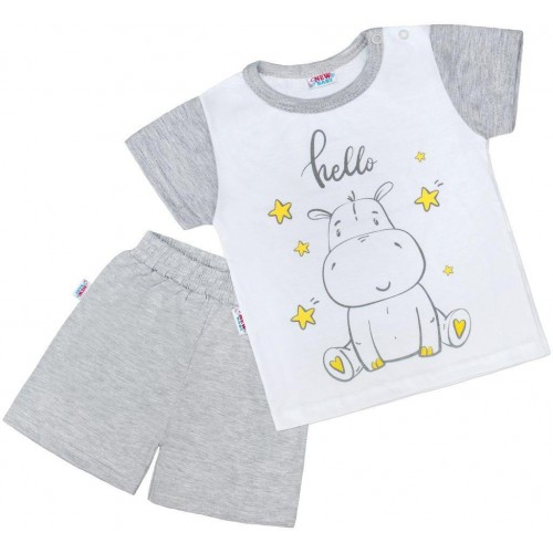 Dětské letní pyžamko New Baby Hello s hrošíkem bílo-šedé Šedá 80 (9-12m)