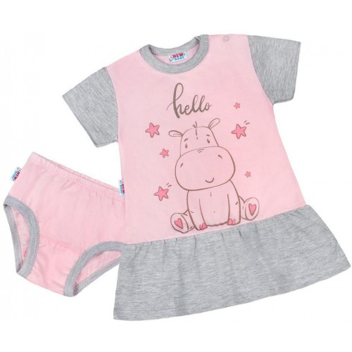 Letní noční košilka s kalhotkami New Baby Hello s hrošíkem růžovo-šedá Růžová 80 (9-12m)