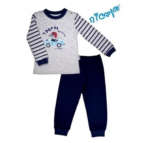 Dětské pyžamo Nicol, Car - šedé/granátové, vel. 92, 92 (18-24m)