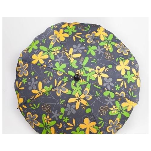 Slunečník na kočárek, šedý/zelený a žlutý květ