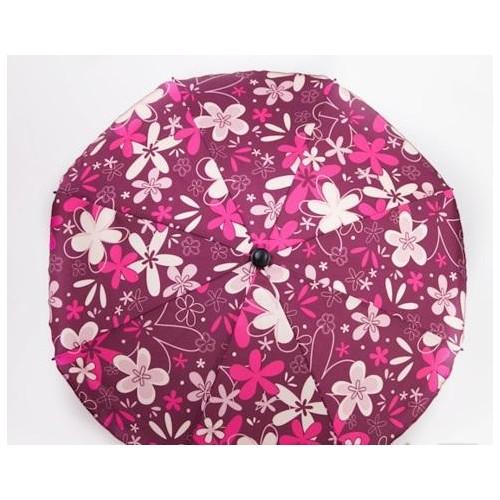 Slunečník na kočárek, tmavě růžový/bílý květ
