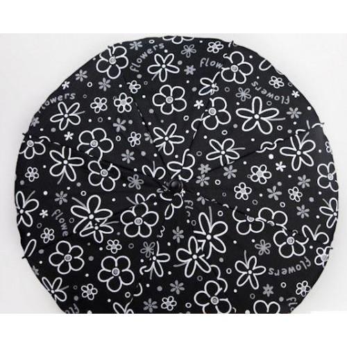 Slunečník na kočárek, černý/bílý květ Flowers
