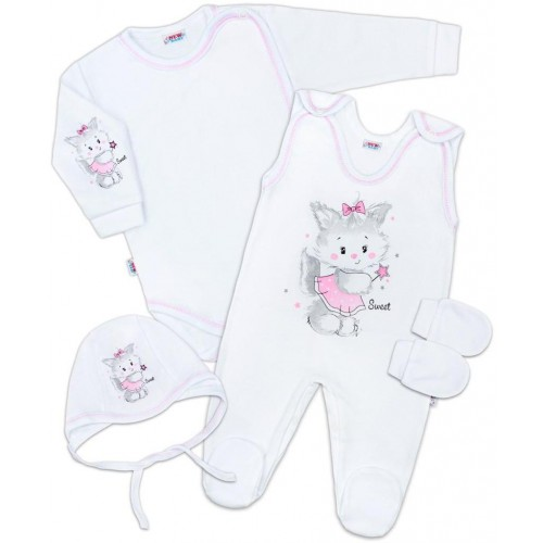 Soupravička 4-dílná Kočička bílo-růžová Bílá 50