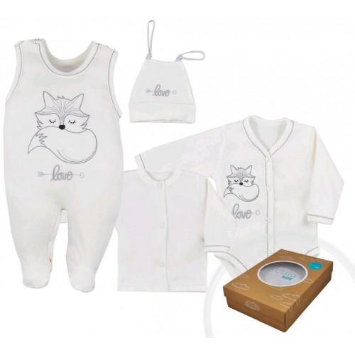4-dílná kojenecká souprava Koala Fox Love smetanová Smetanová 56 (0-3m)
