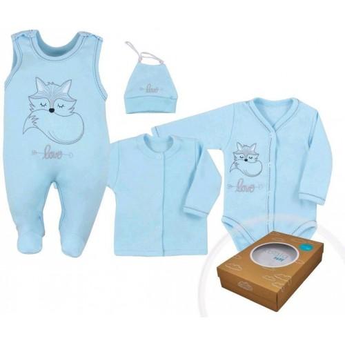 4-dílná kojenecká souprava Koala Fox Love modrá Modrá 56 (0-3m)